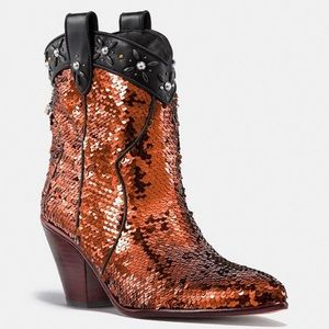 Coach Bronze Sequined Cowboy Boots